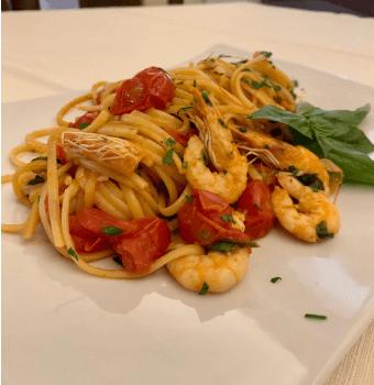 spaghetti con pesce ristorante amelia Il Podere San Giuseppe